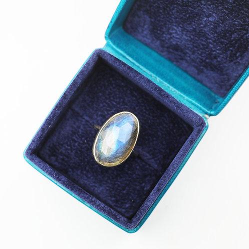 Large freeform rose cut Labradorite ring
