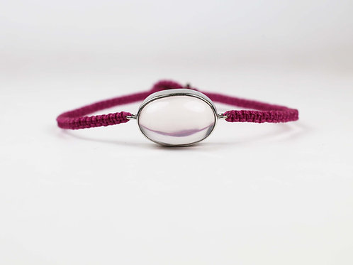 Large rose quartz and white gold bracelet