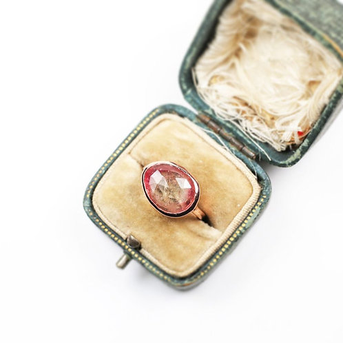 Rose cut Bi-Colour tourmaline in 9ct Rose Gold