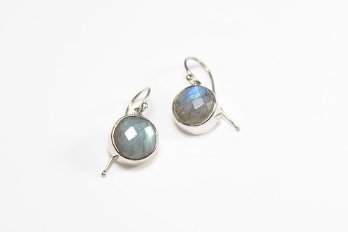 A pair of Labradorite earrings set in 9ct white gold
