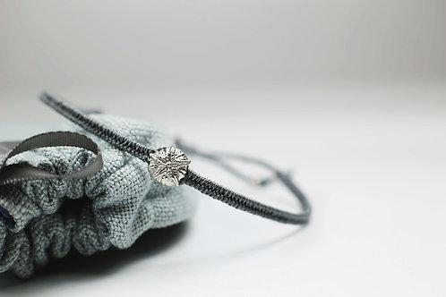 White gold and silk sea urchin bracelet