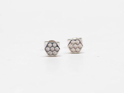 Sterling silver mini Hive earstuds