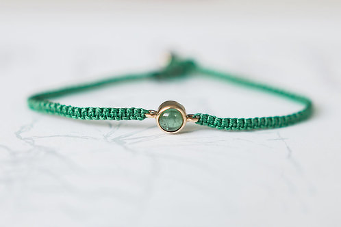 Green Tourmaline and 9ct gold bracelet