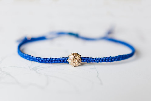 Gold and silk sea urchin bracelet