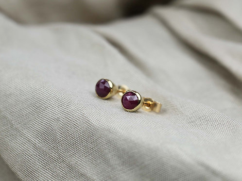9ct yellow gold and rose cut Ruby earrings
