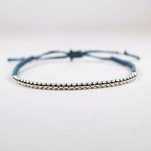 Silver bead adjustable bracelet