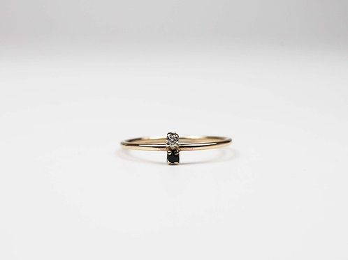 Skinny sapphire and diamond stacking ring