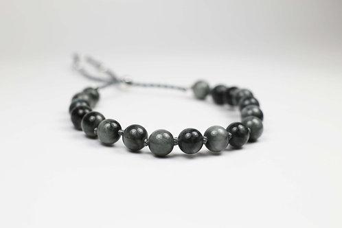 Grey quartz Catseye and silver bracelet