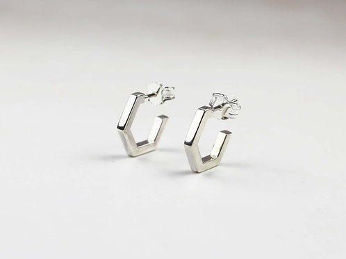Silver Hex hoop earrings