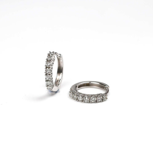 A pair of 18ct white gold diamond hoops