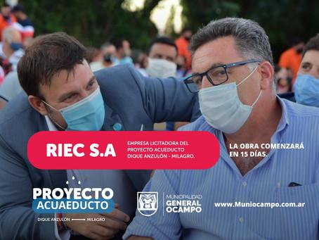 RIEC S.A Llevará a cabo la obra del Acueducto Anzulón