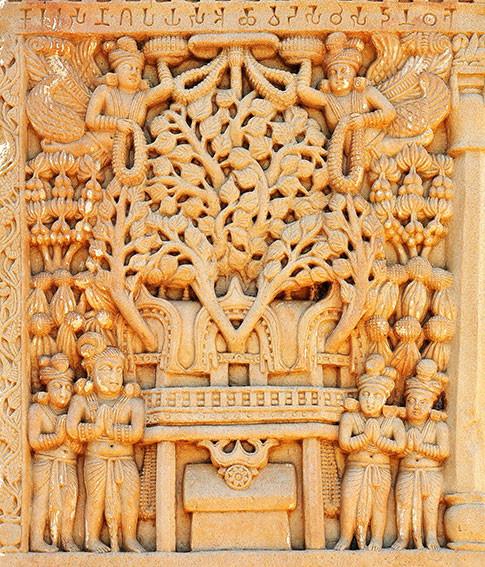04_Pipal_tree_temple_of_Bodh_Gaya_depict