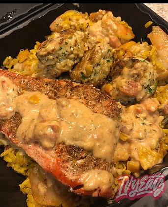 Cajun Salmon and Crab Cakes