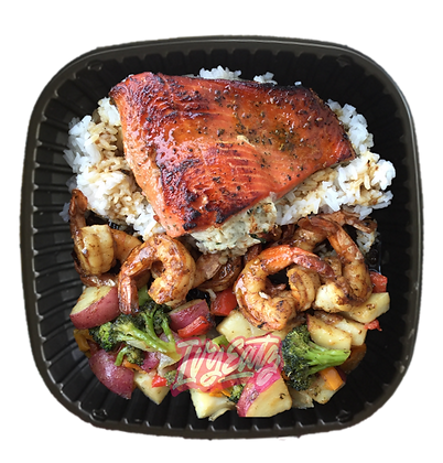 Stuffed Salmon & Shrimp Plate
