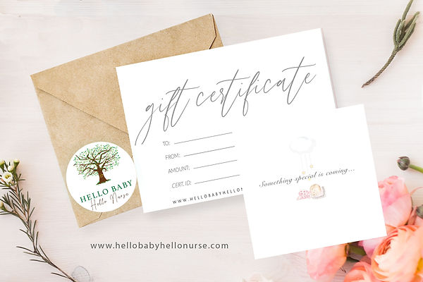 Hello Baby Hello Nurse, gift certificate, flowers, baby shower gift