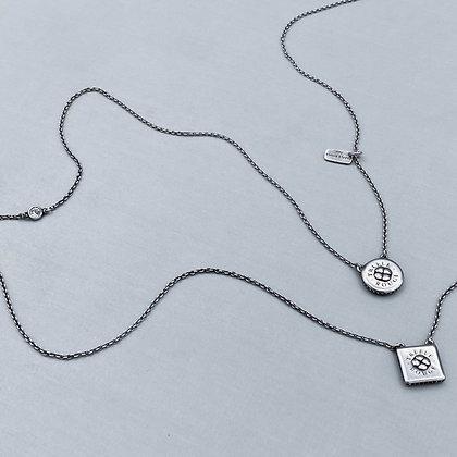 DOUBLE CLOVER - Necklace, Silver