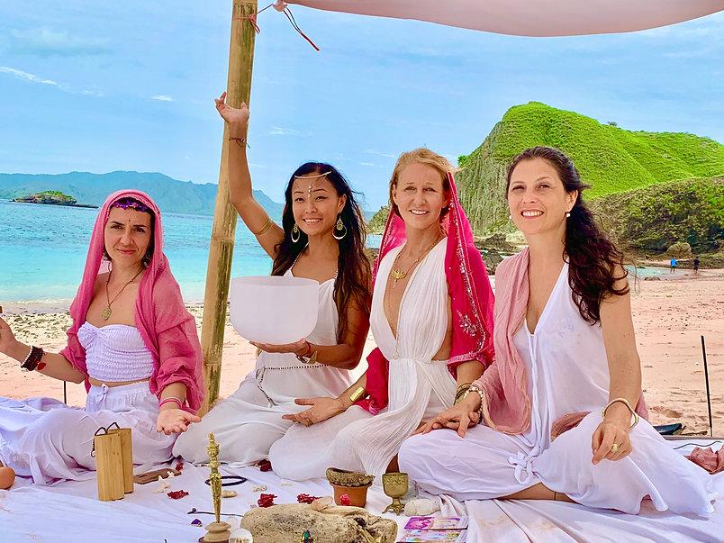 High Priestess temple sound healing. Sisterhood groups divine feminine women empowerment. New Wisdoms for Humanity. Sacred Vortexes on Earth, Ancient lands.