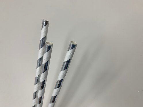Decorative Silver paper straw (pack of 25)