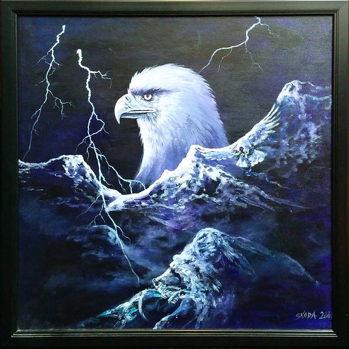 Lighting Night and Eagle by Skoda 2001 (Original) - 74*74.5 cm - Framed