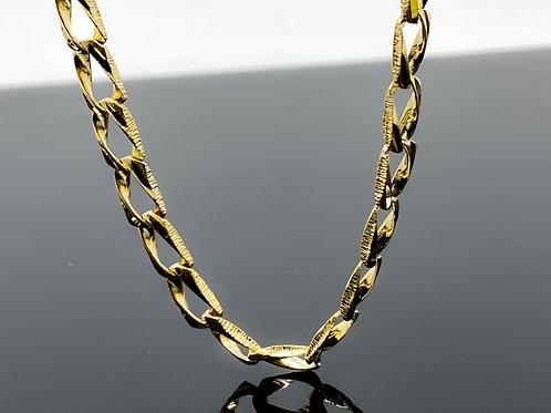 Diamond Cut Brush Finish Link Necklace
