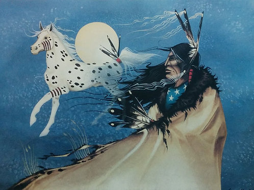 Snow Pony Spirit by Garry Meeches 90' - 53*69 cm - Framed Vintage Prints