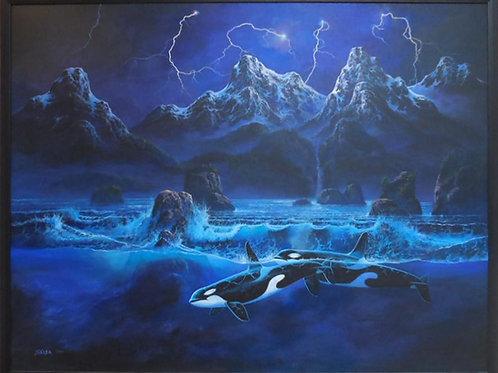 Whales by Skoda (Original) 1999 - 123*158 cm - Framed
