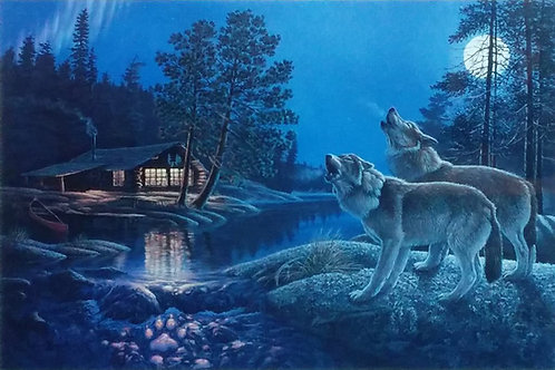 Midnight Serenade Timberwolves (Limited Editions) by Don Ningewance - 50*64 cm - Framed