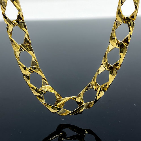 Diamond Double Cut Mat Brush Link Necklace