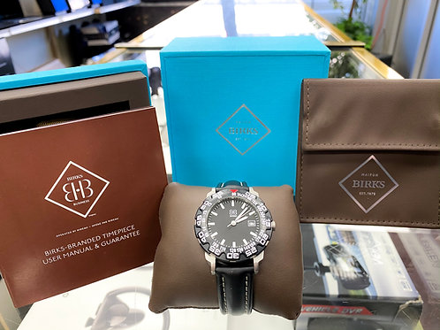Maison Birks Stainless Steel Watch with Tachymeter and Leather Band