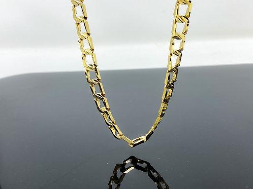 Diamond Cut Square Brush Edge Finish Link Men's Necklace