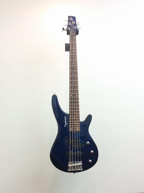 Typhoon TYV13-TBL 5 strings Bass Guitar + Gig bag (EXC.)