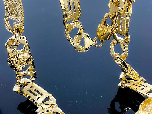 Diamond Cut Medusa Station Style Link Necklace