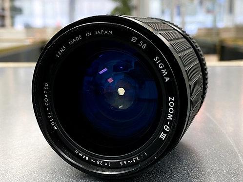 Sigma Zoom-O III 28-84mm f/3.5-4.5 Lens for Pentax Cameras