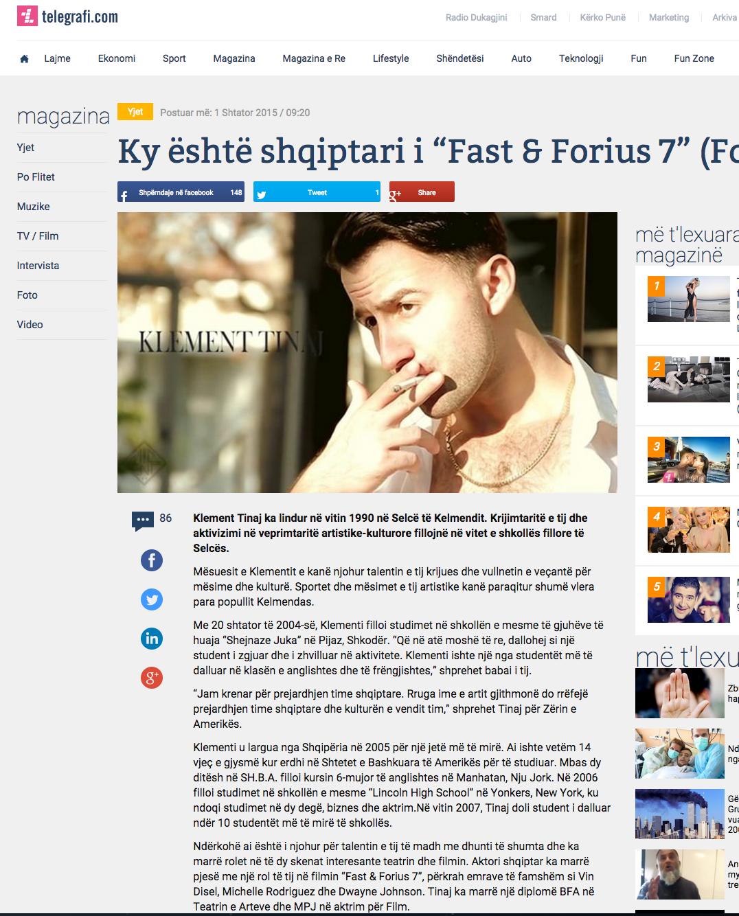 "Shqiptari i ""Fast & Forius 7"""