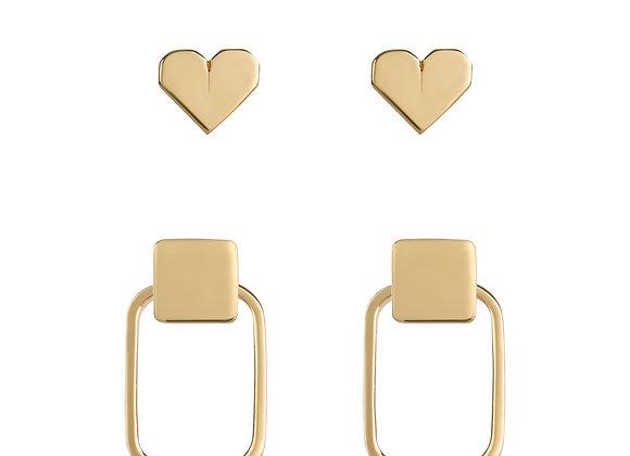 Brinco Squares + Coração Origami