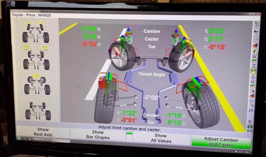 Hunter Wheel Alignment live reading screenshot