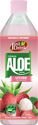 Just Drink Aloe Lychee 500ml (12 Pack)