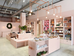 Goop Holiday Store Miami Beach, designed by Kate McCollough. I created bench cushions for the Miami Beach stores and two other national locations, each with its own thematic colorway.