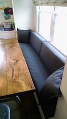 Reupholstered breakfast nook bench.