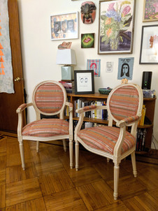 Queen Anne-style dining chairs reupholstered for a private client.