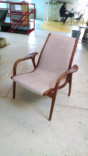 Reupholstered Midcentury Modern chair by Swedese/Yngve Ekström.