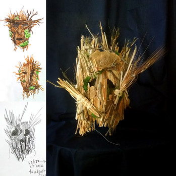 """Sketches and final design for main mask featured in """"You Hunt"""" music video"""
