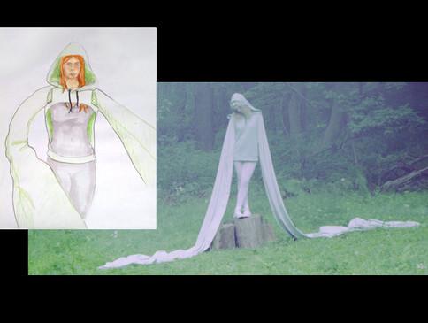 """Sketch and final design for Lee Eller's """"Angel"""" costume"""