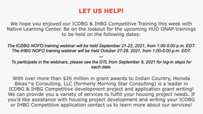 ICDBG & IHBG Competitive Application Assistance