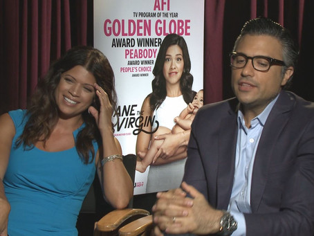 Crew Member Dustin Williams speaks with cast members Xiomara and Rogelio from Jane the Virgin.