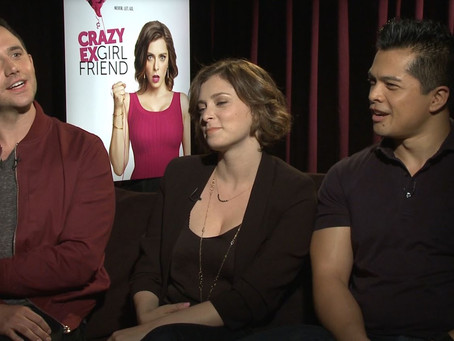"""Crew Member Dustin Williams speaks with cast members for the new series """"Crazy Ex-Girlfriend"""""""