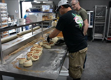 The Crew Makes Tasty Breakfast Rolls at Will's Cinnamon Shop in Hot Springs, AR