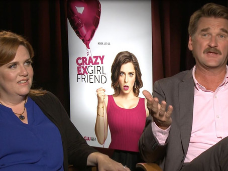 """Crew Member Dustin Williams speaks with cast members for the new series """"Crazy Ex-Girlfriend"""" in L.A"""