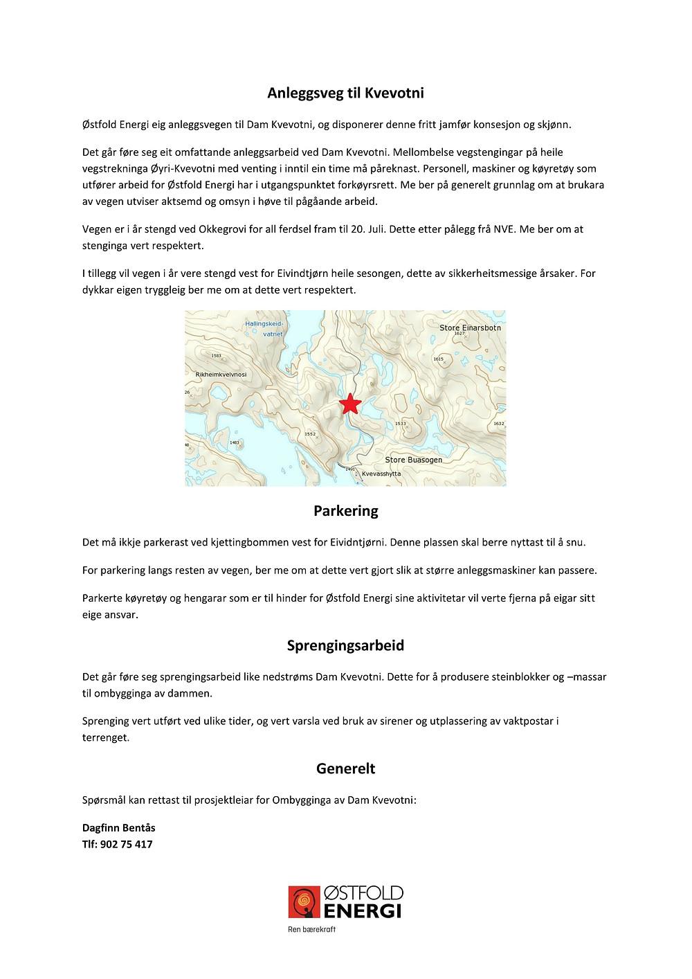Rundskriv om anleggsvegen til Kvevotni 2017