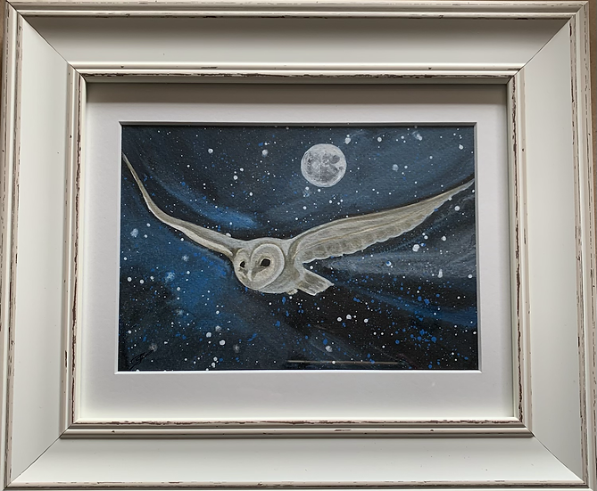 Owl with full moon ORIGINAL - signed, mounted and framed
